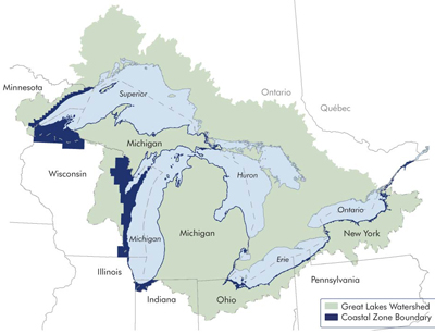 Figure 1. Mahon, J. & Mahon, A. (2015). Coastal Management in the Great Lakes Region [Map]. Retrieved November 19, 2015 from: http://www.great-lakes.net/envt/air-land/cstzone.html