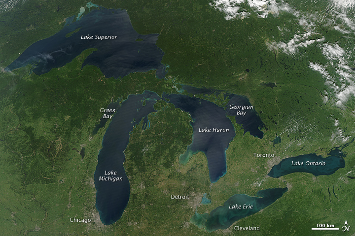 Figure 2. Schmaltz, J. (2010). Great Lakes, No Clouds. NASA Earth Observatory [Image]. Retrieved November 19, 2015 from: http://earthobservatory.nasa.gov/IOTD/view.php?id=45615