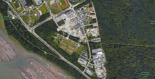 Figure 5 - UBC is situated between the University Endowment Lands of Pacific Spirit Regional Park. An aerial view using Google maps provided by Map Data Copyright 2015 Google shows this close proximity of dense settlement and wildlife habitat.