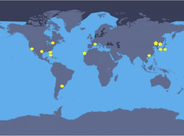 Figure 1: Map of global orca habitat shown in light blue and sites of orca captivity highlighted with yellow stars (WDC, 2015).